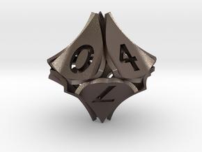 Peel Dice - D10 (ten sided gaming die) in Polished Bronzed-Silver Steel