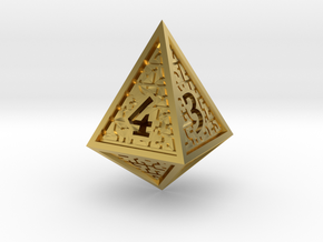 Hedron D4 (Hollow), balanced gaming die in Polished Brass