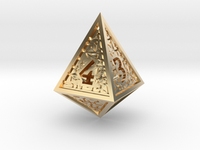 Hedron D4 (Hollow), balanced gaming die in 14k Gold Plated Brass