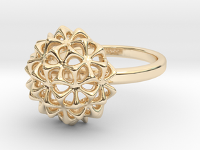 Virus Ball - Ring in Cast Metals in 14K Yellow Gold