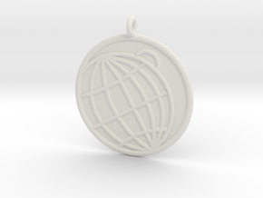 Planetology Symbol in White Natural Versatile Plastic