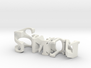 3dWordFlip: Simon/Carla in White Natural Versatile Plastic