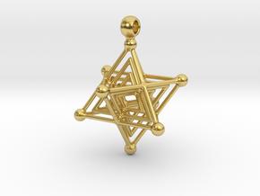 TETRA MERKABA in Polished Brass