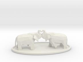 Elephant Love in White Natural Versatile Plastic