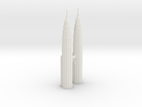Petronas Towers w/o Mall - Kuala Lumpur (6 inch)  in White Natural Versatile Plastic
