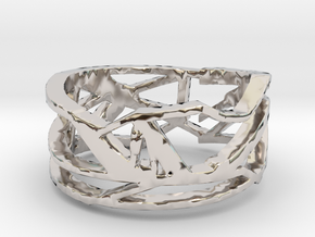 Techno ring   in Rhodium Plated Brass: 11 / 64
