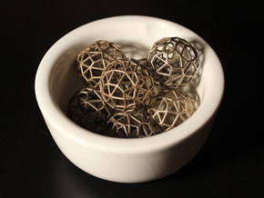 Irregular Wireframe Spherical Beads x6 in Polished Bronzed Silver Steel