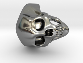 Skull Ring - Integrated Band (Size 8) in Polished Silver