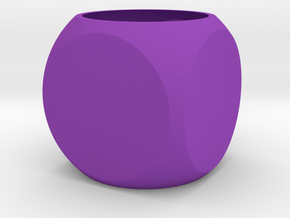 Faceted Cube Planter in Purple Processed Versatile Plastic