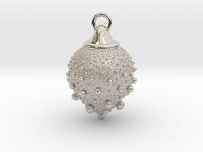 Fractal pendant - Strawberry fields in Rhodium Plated Brass
