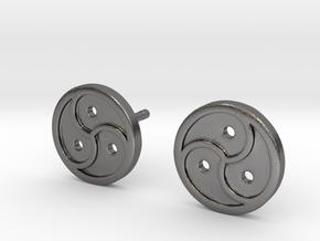 Triskele Earrings in Polished Nickel Steel