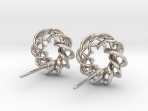 Torus Ribbon Stud Earrings in Cast Metals in Rhodium Plated Brass
