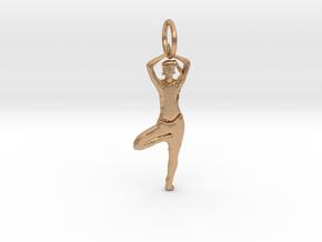 Lady Yoga Tree Pose  Pendant in Natural Bronze