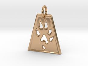 Small Ferret Paw Print - Geometric in Polished Bronze