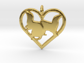 Double ferret pendant heart in Polished Brass