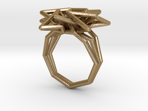 Spike Radial Ring in Polished Gold Steel