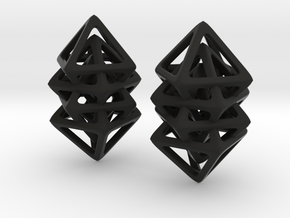 Quad Octahedron in Black Natural Versatile Plastic