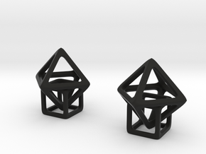 Dangling Cube in Black Natural Versatile Plastic