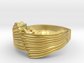 Dip Slip Fault Ring - Geology Jewelry in Polished Brass: 9 / 59