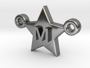 Customizable Star Letter Pendant -1,45cm in Polished Silver