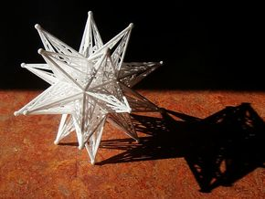 10 cm Great Stellated Dodecahedron in White Natural Versatile Plastic