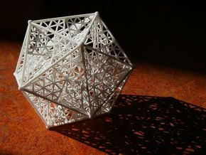 8 cm Great dodecahedron in White Natural Versatile Plastic