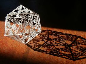 10 cm Icosahedron in White Strong & Flexible