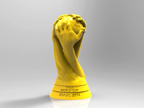 FIFA World Cup Brazil 2014 Logo Cup Design 15cm in Yellow Strong & Flexible Polished