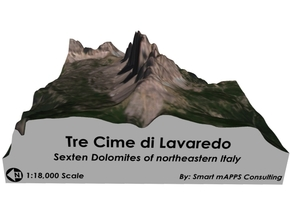 "Tre Cime di Lavaredo Color Map (6""x6"") in Natural Full Color Sandstone"