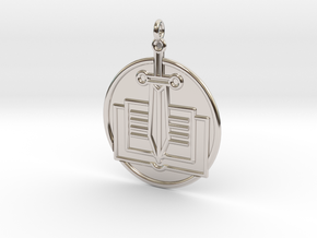 History Symbol in Rhodium Plated Brass