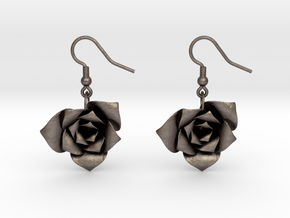 Rose Earrings in Polished Bronzed-Silver Steel