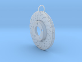 Drilled braking disc keychain in Smooth Fine Detail Plastic