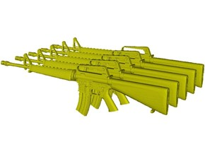 1/20 scale Colt M-16A1 rifles x 5 in Smooth Fine Detail Plastic