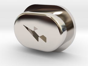 Y_mod_S Engraved Button Only in Rhodium Plated Brass