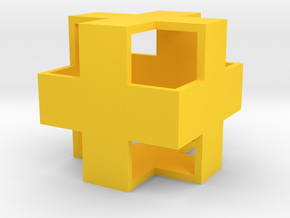 Hollow CrossCube in Yellow Processed Versatile Plastic