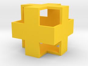Hollow CrossCube in Yellow Processed Versatile Plastic