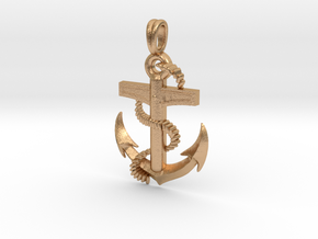 Anchor Dainty, Simple, Minimalist Necklace in Natural Bronze