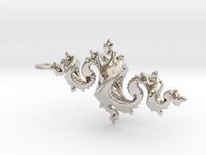 Dragon Pendant 4cm in Rhodium Plated Brass