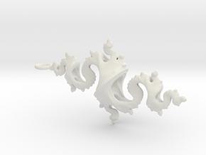 Dragon Pendant 6cm in White Premium Versatile Plastic