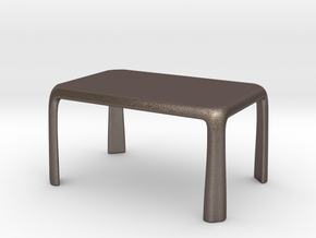 1:50 - Miniature Modern Dining Table  in Polished Bronzed-Silver Steel