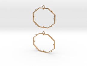 Octagonal Dot Earrings in Natural Bronze