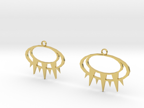 Solar Eye Earrings in Polished Brass