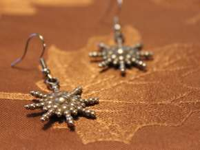Snowburst Earrings in Polished Bronzed-Silver Steel
