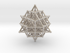 64 Tetrahedron Grid 45mm in Rhodium Plated Brass
