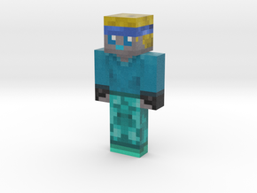 Blue Robot | Minecraft toy in Natural Full Color Sandstone