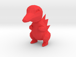 Low Poly Cyndaquil in Red Processed Versatile Plastic