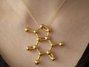 Caffeine molecule Necklace Pendant Big in 14k Gold Plated Brass