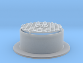 Raised Waffle Pattern Manhole Cover 1:20.3 Scale in Smooth Fine Detail Plastic
