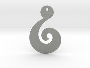 Maori Pendant - thin (2mm thick) in Gray PA12