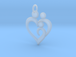 Family of 3 Heart Shaped Pendant in Smooth Fine Detail Plastic